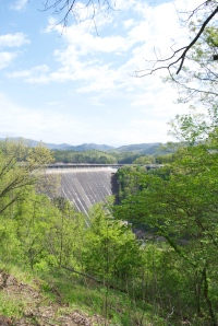Fontana Dam on the LIttle Tennessee River which forms Lake Fontana