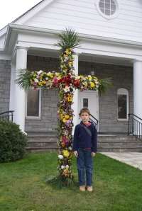 A Flowered Cross in Front of A Church in Highlands, NC