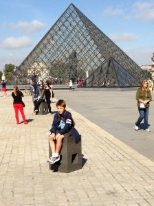 Outside the glass pyramid at the Louvre