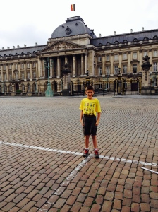 Me in front of the Belgian Royal Palace.  The flag flying means the King is home.