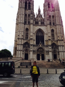 Me in front of St. Michael and St. Gudulale Cathredral in Brussels.