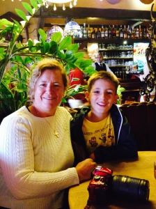 My Mom and I at our table in La Chaloupe d'Or on the Grand Place for lunch.