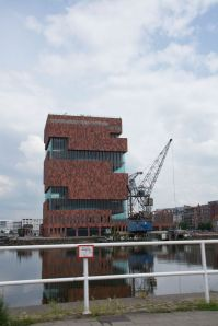 The MAS or Museum aan de Stroom or Museum on the River in Antwerp port basin.  We visit this weekend.