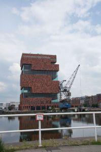 The MAS or Museum aan de Stroom or Museum on the River in Antwerp port basin.  We visit this weekend.