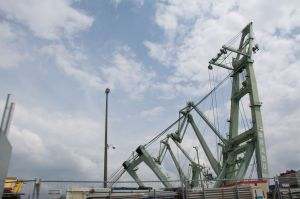 Brabo, a floating derrick crane, can lift up to 800 tons.