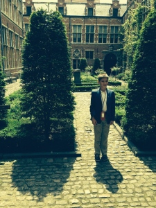 Me standing in the Inner Court of the Plantin-Moretus Museum in Antwerp.