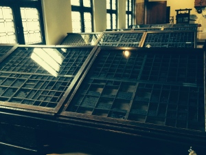 A closeup of the typesetting cases across the aisle from the printing presses.
