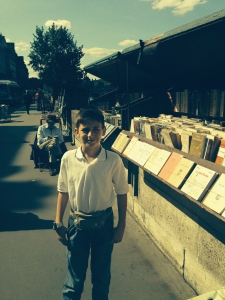 Walking along the 'Rive Gauche' or left bank quayside of the Seine and the book stalls.
