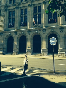 I am in front of the University of Paris, The Sorbonne.  It is a famous university but without a football team.