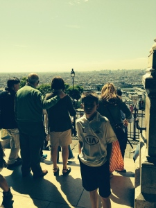 I am outside the doors to Sacre Coeur looking down on Paris.  We went to 1100 mass on Thursday in honor of our D-Day forces who sacrificed their lives for freedom.