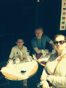 Lunch in Montmarte on the Artists square, with my Uncle Jonathan and my Mom.  Dad behind the camera.