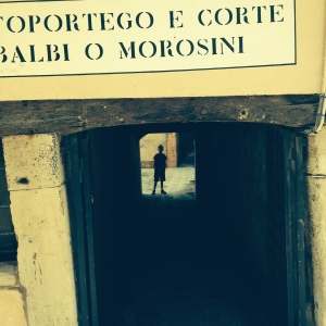 That's me in the far part of the Soportego E Corte Balbi O Morosini on our walk to the Rialto.