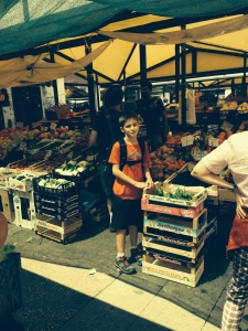The produce market was awesome. They had every kind of vegtable and fruit.  And it was very busy with people buying for their evening meals.