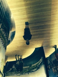 Walking upside-down but actually in a ceiling mirror at the Moskva: Urban Space exhibit.