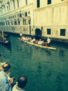 On the Canal separating Sestiere Castello and Sestiere San Marco, we watched a 16 man/woman Hungarian canoe crew paddle by to the cadence of a goatskin drum by the Coxswain.