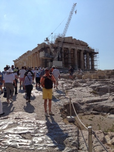The Acropolis of Athens and the Parthenon under reconstruction of the Cella (interior walls).