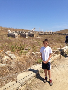 These are the marble lions given by the people of Naxos to the people of Delos.  The actual ones are in the museum.