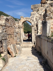 A beautiful arched doorway in the fabulous archeological ruins of E;phesus.