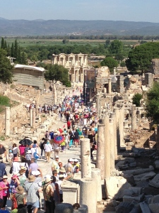 Looking down the Marble Street toward the Celsus Library in Ephesus