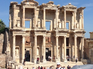 This is the library of Celsus in Ephesus.  Now you know why I think this is the finest archeological site I have seen.  There are so many inscriptions in latin and greek left over on the stones and marble they must tell a fascinating story.