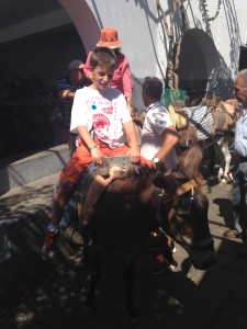 I and my Mom take a Donkey ride in Lindos Old Town.