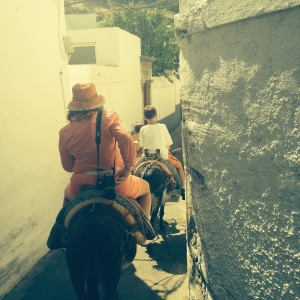 My Mom and I in one of the many alleys on our Donkeys.