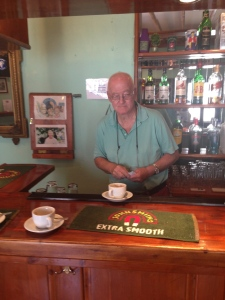 This is Cliff, the landlord of the Sunburnt Arms Bar, in Lindos, Rhodes where my dad went for a café kir while my Mom and I rode the donkeys around the alleys and up to the church.