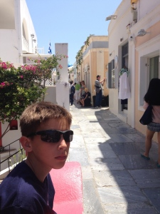 Here I am on the street where Pelekanos restaurant is located in Oia.