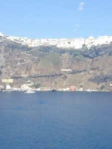 The view from our balcony on leaving Santorini.  What a beautiful place.