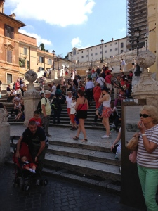 The Spanish Steps at Piazza di Spagna which is under repair just like the Trevi Fountain.