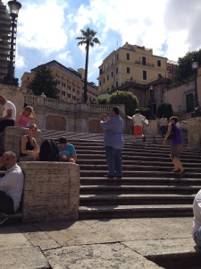 I am on the middle part of the Spanish Steps. Above me on the left is the Hassler Hotel where my Dad has stayed.  He says it is a very special place to have breakfast and watch Rome wake up from its rooftop restaurant.