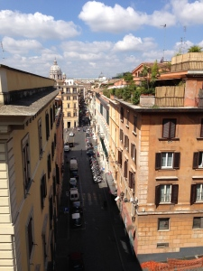 Looking down one of the streets below Borghese toward St. Peter's in the far background.