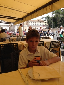 Getting ready to order lunch at the Café Rosati on Piazza di Popolo