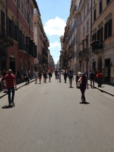 The main street down from the Piazza di Popolo is Via dei Corso that is open to traffic but also walkers.  Lots of shops and churches.