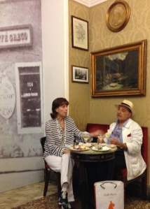 "This is a ""regular"" couple in the Antico Caffé Greco on the Condotti.  Drinks, some olives and bread.  A little conversation.  Very roman!"