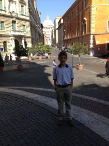 I am standing in front of Spirito Santo with St. Peter's in the background.