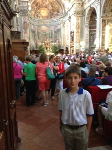 Inside Spirito Santo in Sassia after the 10:00am English mass.  It was pretty crowded.  The church dates from the 15th century.