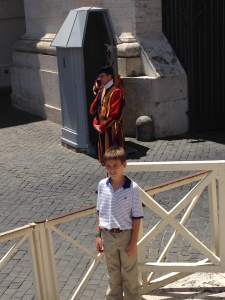 Leaving St. Peter's we came upon these Swiss Guards at their watch stations.  These guys protect the Pope and are very impressive and colorful.