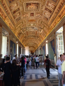 Wonderful ceiling art on one of the halls to the Sistine Chapel.