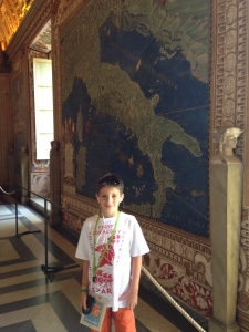 In the Hall of Maps I am standing in front of the one of Italy.