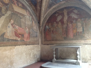 A fresco on the walls of a small chapel in the Cloister of the Dead.