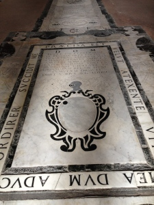 The marble floor and funeary of the Spanish Chapel.