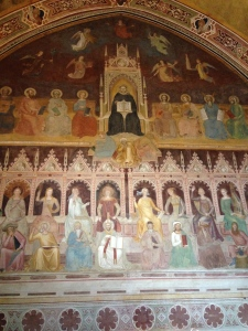 On the facing wall to the entrance of the Spanish Chapel is another of the Bonaiuto Fresco's completing the trilogy.