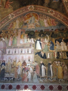 "On the other wall of the Spanish Chapel is Bonaiuto's companion fresco, ""The Triumph of the Christian Doctrine""."