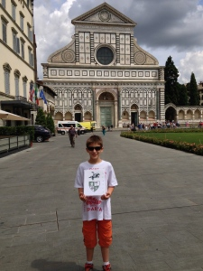 In front of the great Dominican basilica of Santa Maria Novella in Firenze.  Wow!  What a church.