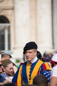 All along the traffic lane for the Popemobile there are Swiss Guards stationed along with Polizia from Rome.  They must be Catholic, single men, between the ages of 20 and 32, having served in the Swiss Army.