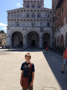 On the Piazza San Martino in front of the Duomo of San Martino in Lucca.