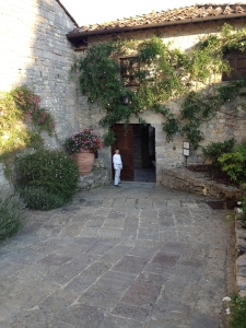 Down the walk to the main building and square of the Castello di Spaltenna
