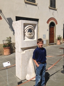 "In Gaiole they have installed about 20 modern sculptures all around the little village.  This one is ""The Cycloops""."