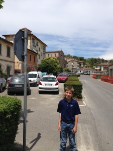 Looking north down the main street in Gaiole in Chianti. That is the church we went to for Sunday Mass in the background.